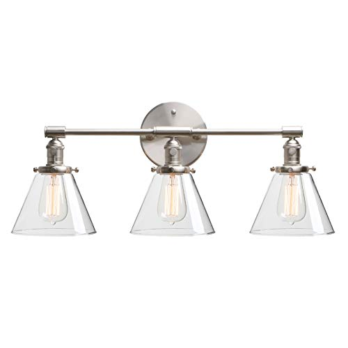 Phansthy 3 Light Wall Sconce Brushed Nickel Wall Mounted Bathroom Vanity Lighting with 7.3 Inches Clear Glass Canopy, Brushed Nickel