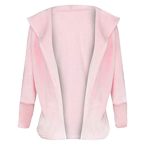 EbuyChX Hooded Long Sleeve Faux Fur Fleece Open Front Solid Color Coat Women H Pig Pink M