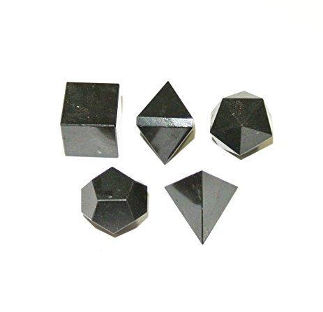 Crocon tormalina nera Platonic Solid Sacred Geometric 5pz Set per meditazione cristallo guarigione griglie