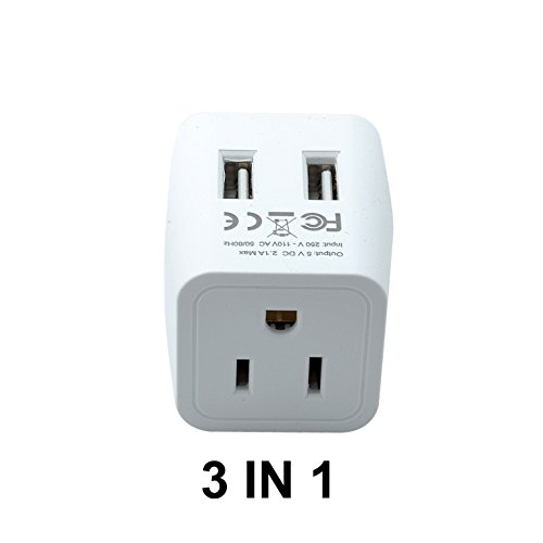 Ceptics USA to South Africa Travel Adapter Plug With Dual USB - Type M - Ultra Compact (Does Not Convert Voltage)