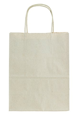 (Premier Packaging AMZ-295018 15 Count Pinstripe Shopper Gift Bag, 8.25 by 10.5-Inch, Oatmeal)