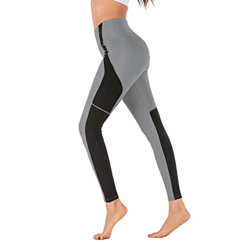 Women's High Waist Out Pocket Running Athletic Sports Yoga Pants,YuhooSUN Work Pull on Stretch Slim Yoga Leggings Gray 29' Soccer Ball Mat