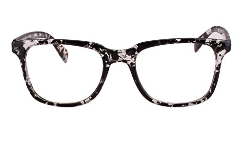 Plain Lens (Agstum Wayfarer Plain Glasses Frame Eyeglasses Clear Lens (Black flowers, 52))