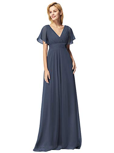 Ever-Pretty Women's Double V-Neck Wedding Party Bridesmaid Dress Chiffon Flowy Dress Blue US8