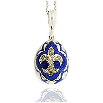 Sterling Silver Gold Russian Enameled  Egg Pendant With Cross /& Flor De Lis NEW