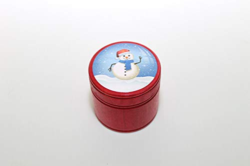 (Waving Snowman Red Medium Round Trinket Ring Box)