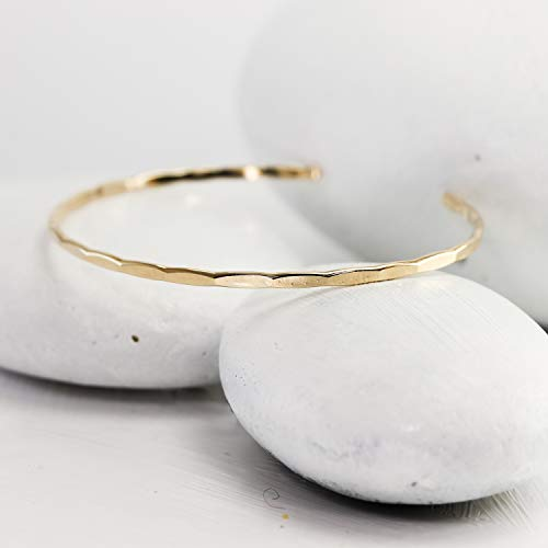 Thin Hammered Gold Cuff, handmade gold fill bangle -