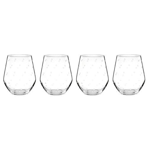 kate spade new york Larabee Dot Stemless White Wine Glass Set - 4 - Dot Glasses