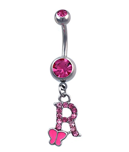 Initial Alphabet Letter Butterfly Dangling Charm Navel Belly Ring (Letter R) ()