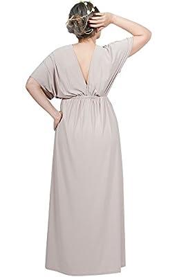 KOH KOH Womens Long Maternity Kimono Sleeve V-Neck Summer Flowy Gown Maxi Dress