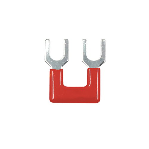 Fork Type (Suyep 2 Positions 25A Wire Connector Pre Insulated Fork Type Barrier Spades Terminal Strip Jumper Block TB2502 (100, Red))