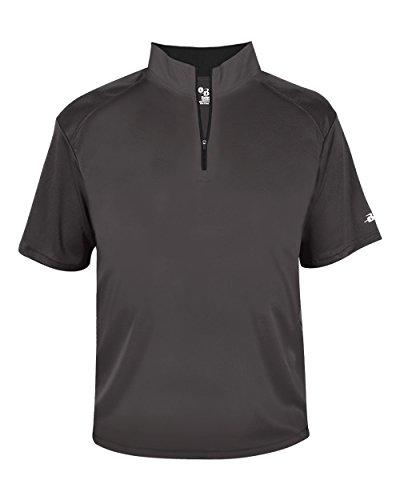 (Graphite Adult 3XL Short Sleeve 1/4 Zip Pullover Wicking Sports Windbreaker Jacket)
