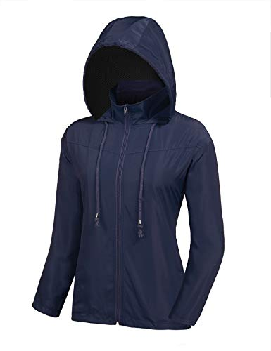 ZEGOLO Women's Waterproof Windbreaker Lightweight Jackets UV Protect Running Coat Navy Blue Small