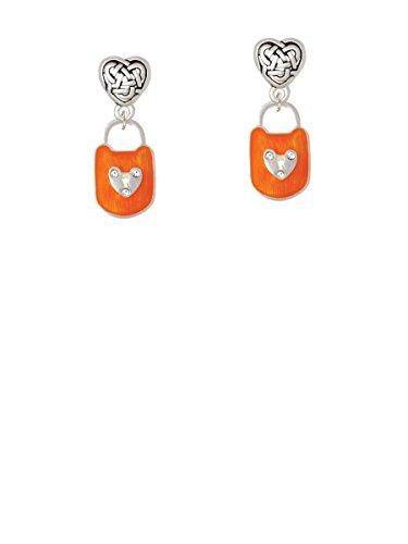 Hot Orange Enamel Lock - Hot Orange Enamel Lock with Clear Crystals - Celtic Heart Earrings