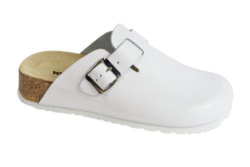 Weeger Clog m. Keilsohle 41520 - Zuecos de cuero nobuck para mujer Blanco