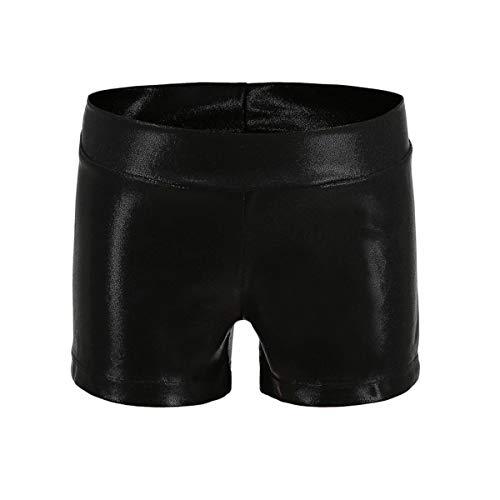 Girls Dance Short Gymnastics Athletic Shorts Sparkle Glitter Tumbling Bottoms, Black, 140 (for 9-10 years)