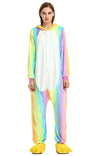 OLadydress Unisex Unicorn Costumes Pyjamas, Adult Women Men Animal Cosplay Onesie Rainbow X-Large