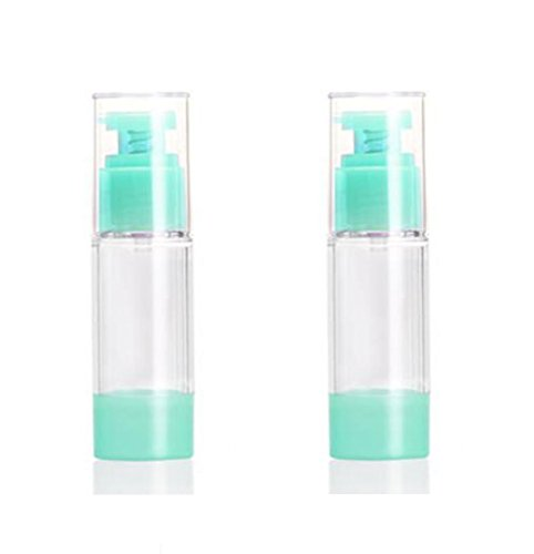 2PCS Green Airless Pump Bottles-Empty Refillable Plastic Bayonet Cream Lotion Toner Cosmetic Toiletries Liquid Storage Containers Jar Pots (30ml)