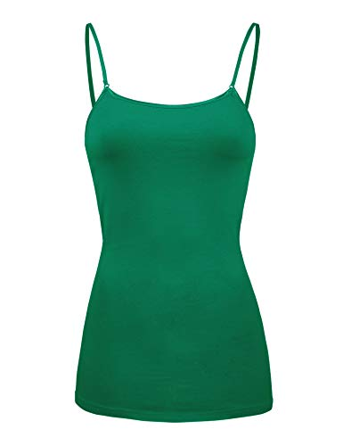 COLOR STORY Womens Basic Camisole Tank Top (2000-KELLY Green-S)