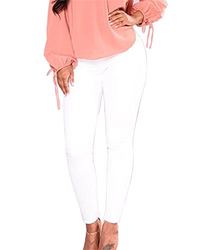 Alta Vaqueros Blanco Jeans Elástico Mezclilla Cintura Mujer Pantalones Push Pantalones Flacos Up Skinny Leggings 0FAqw1x