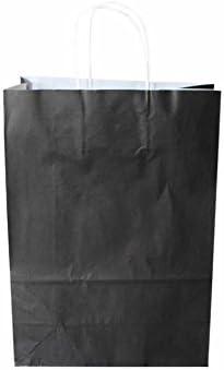 Papiertragetaschen mit weißer Kordel Farbe: SCHWARZ 32 + 17 x 43 cm (50 Stück)