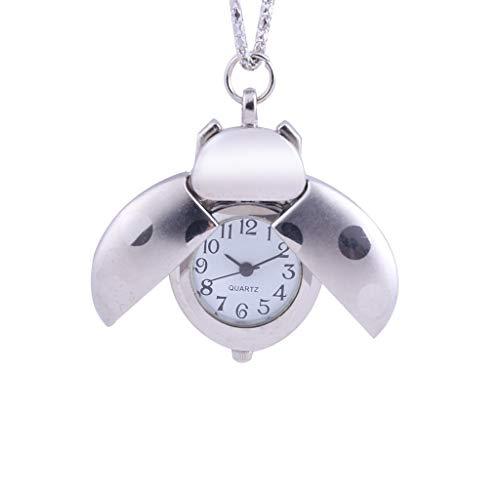 WUAI Pocket Watch for Kid Boys Girls,Novelty Creative Seven-Star Ladybug Analog Pendant Necklace Chain Pocket Watch