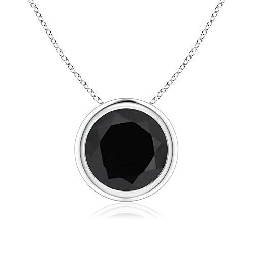 Bezel-Set Round Black Onyx Solitaire Pendant in Platinum (8mm Black - Onyx Platinum Necklace Black