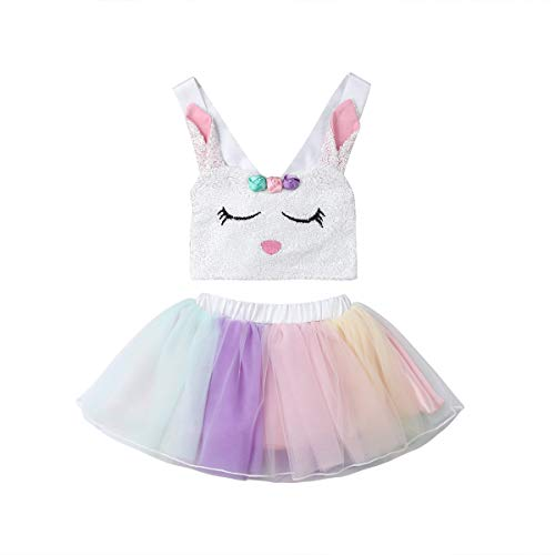 2Pcs Toddler Kids Baby Girls Easter Outfits Set Bunny Sleeveless Tops+Tutu Skirt Summer Clothes 2-3T White