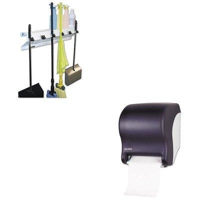 - KITEXC3336WHT2SJMT8000TBK - Value Kit - San Jamar T8000TBK Black Tear-N-Dry, ECO Paper Towel Dispenser (SJMT8000TBK) and Ex-cell The Clincher Mop amp;amp; Broom Holder (EXC3336WHT2)