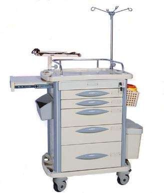 MS3C-110T, Lite Mobile Medical Emergency Crash Cart with Accessories, IV Pole, Cardiac Board, O2 Holder, Quick Ship Program, Ships in 2 Days