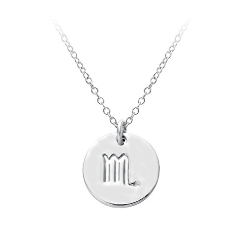 HACOOL 12 Zodiac Sign Tag Constellation S925 Sterling Silver Horoscope Astrology Disc Charm Necklace (Live Free Peace Sign)