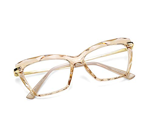 Prescription Glasses Frames - FEISEDY Cat Eye Glasses Frame Crystal Non Prescription Eyewear Women B2440
