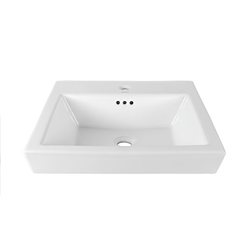 - RONBOW ESSENTIALS Rhombus 19 Inch Square Tapered Ceramic Drop-in Bathroom Sink in White 200480-1-WH