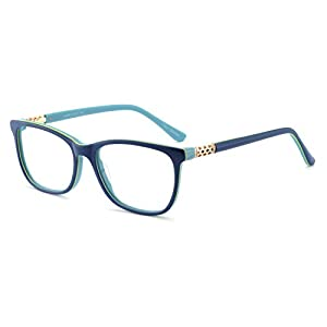 OCCI CHIARI Shining Asero Acetate Color Blue Eyeglasses Frame With Clear Lenses