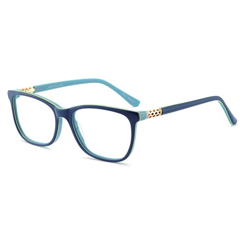 OCCI CHIARI Shining Fashion Acetate Optical Frame Non-Prescription Clear Eyeglasses 50-17-135 (Blue) ()