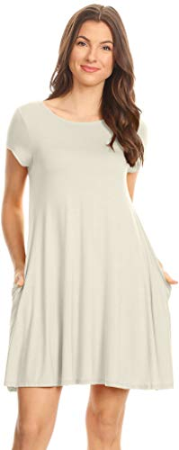Womens Trapeze Dress Loose T Shirt Dress Swing Dress Tunic Dress w Pockets - USA,Ivory,Medium