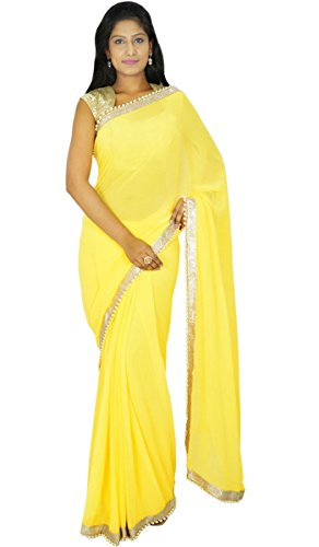 Yellow Sari (Indian Traditional Party Wear Sari Designer Georgette Wedding Saree Gift For)