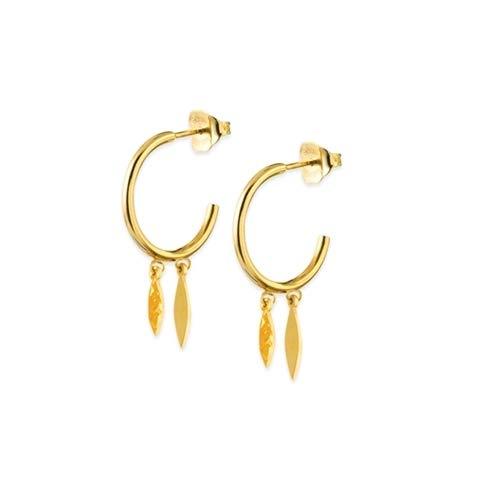 - 14k Yellow Gold Mini Hoop Marquis High Polish Hammered Dangle Earrings