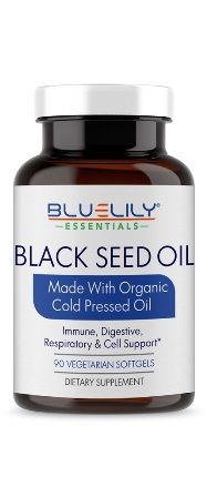 Black Cumin Seed Oil Vegetarian Softgel Capsules. Organic Virgin Cold Pressed 100% Pure Nigella Sativa Oil. 1000 mg - 90 Capsules