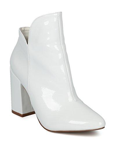Stivaletto Con Tacco Blazer Donna Alrisco - Stivaletto Alla Caviglia Con Punta Tonda - Stivaletto Alla Moda Versatile Elegante - He11 By Liliana Collection White Patent