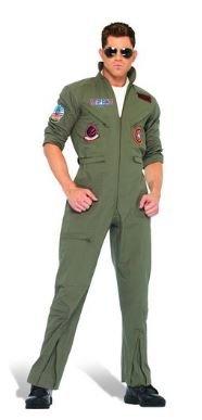 Aviator Top Gun Deluxe Fight Pilot Jumpsuit Costume Fancy Dress Outfit  Halloween Carnival (Large Size e1512c8297165