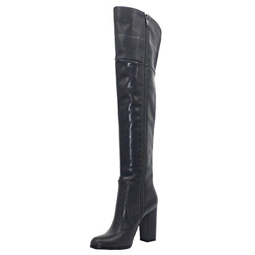 Zipper Zaproma Bottes Automne Talons Round Femmes Side Chaussures Hauts hiver Chucky Genou Solide Noir Toe Couleur wggIrR