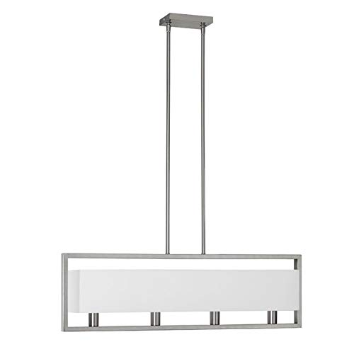 (Dainolite Lighting LAR-323-SC Pendants with White Linen Shades, Satin Chrome)