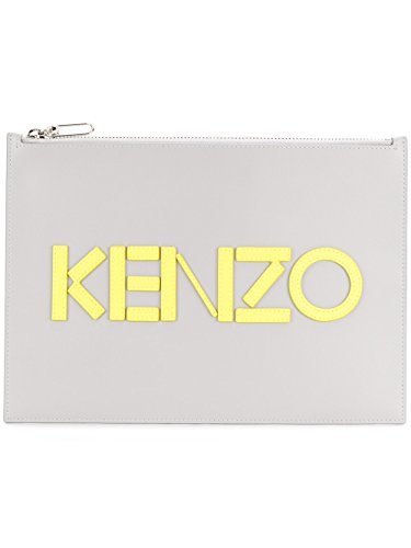 Kenzo Herren F855pm502l4694 Grau Leder Clutch