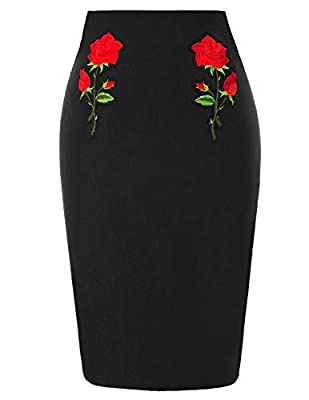 Belle Poque Women's 1950s Retro Flower Embroidery Stretchy Slim Fit Bodycon Midi Pencil Skirt