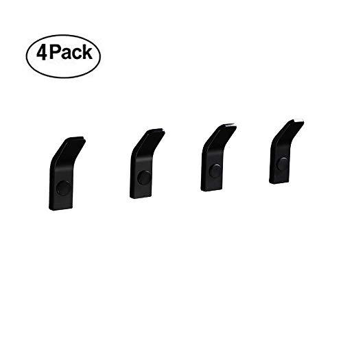 (Bathroom Single Towel Robe Hook, ICASA Space Aluminum Wall Mounted Hanger, 4 PCS Towel Rack Hook for Bathroom Bedroom Kitchens, Waterproof/Heavy Duty/Matte Black Finish)