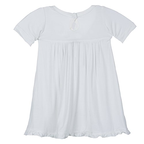 KicKee Pants Girl Short Sleeve Swing Dress with Keyhole Button Closure, Natural White, 12- 18 Months