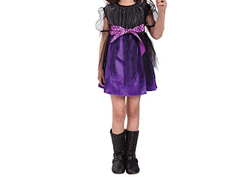 Halloween Party Kids CWitch Costume Costume Witch Dress with Hat,Purple,13T]()