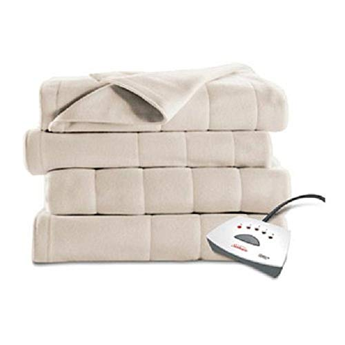Sunbeam Heated Fleece Electric Blanket, Twin Size, 10 Hour Shut Off with a 6 Foot Cord, Off White (Ll Bean Electric Blanket)