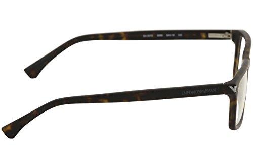 Emporio Armani Montures de lunettes 3072 Pour Homme Matte Black, 52mm 5089: Matte Tortoise